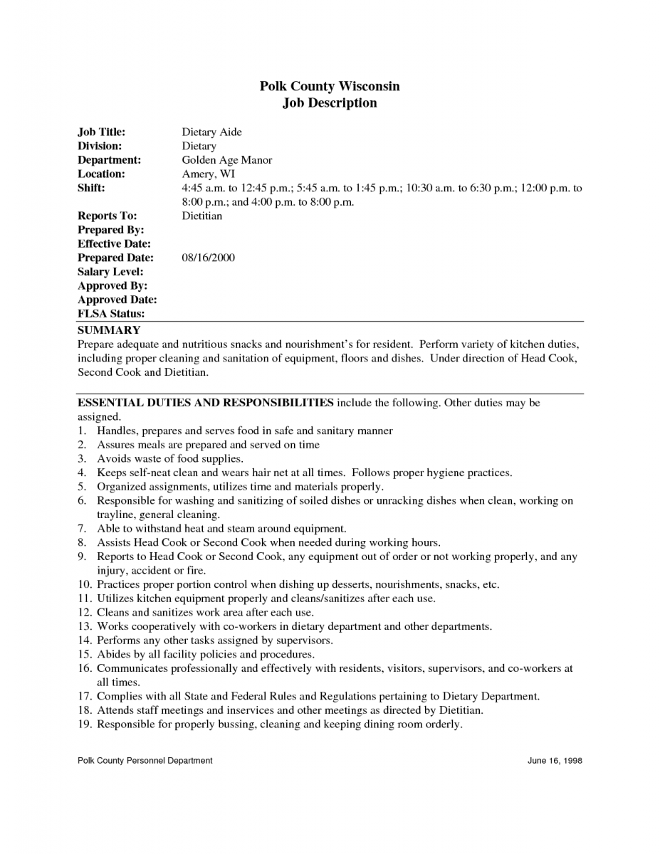 10 How To Create A Resume For A Dietary Aide - SampleBusinessResume ...