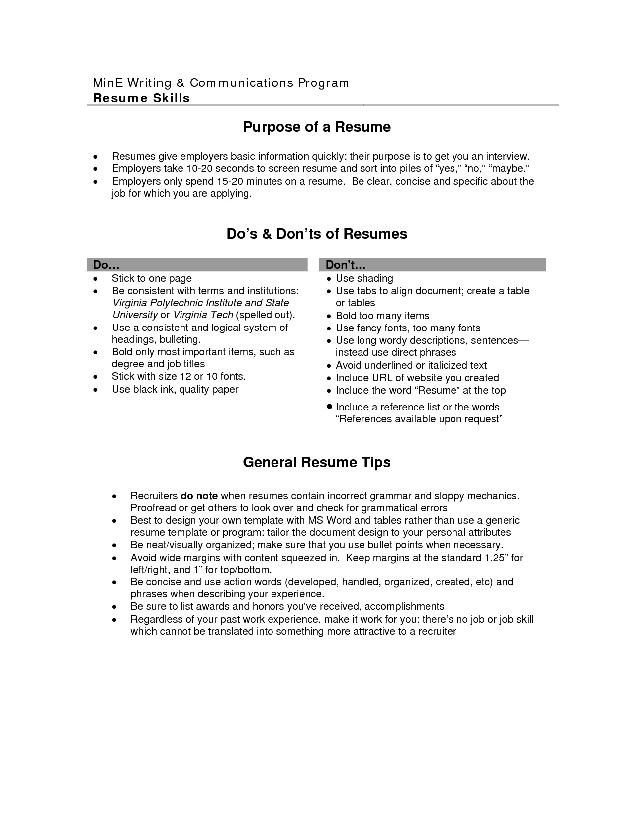 resumes objectives samples