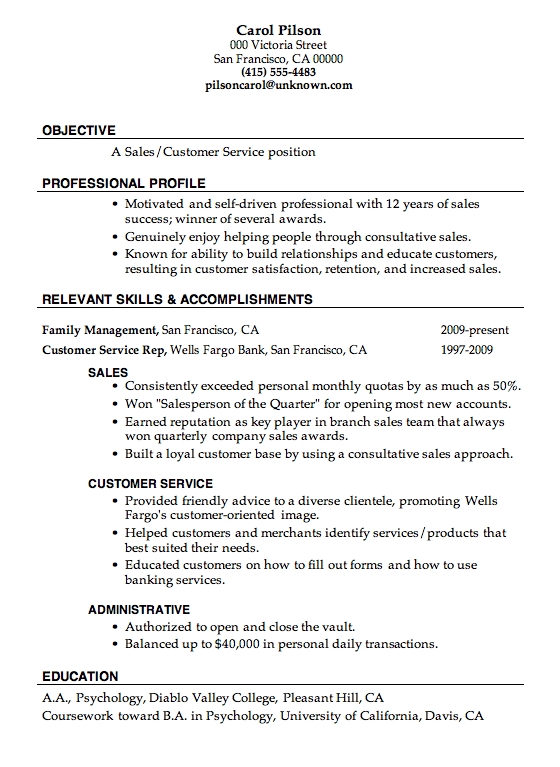 objectives for resumes for customer service Resume Sample Sales Customer Service carol pilson