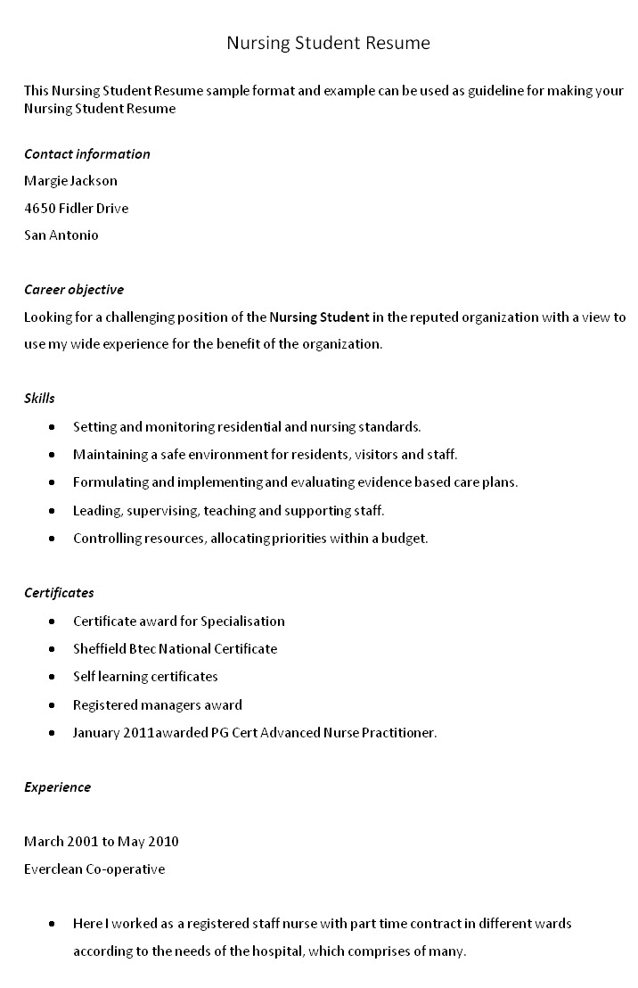 Objectives For Resumes For Students Resume Objectives Examples For Students Nursing Student