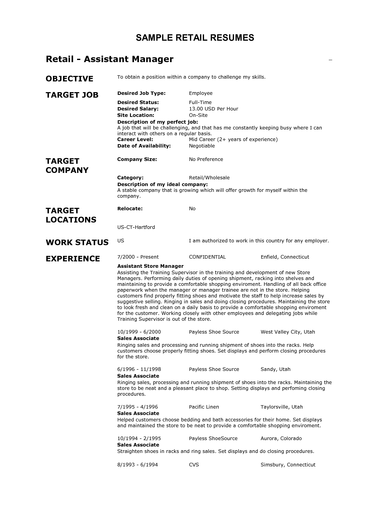 Awesome Retail Job Resume Objective