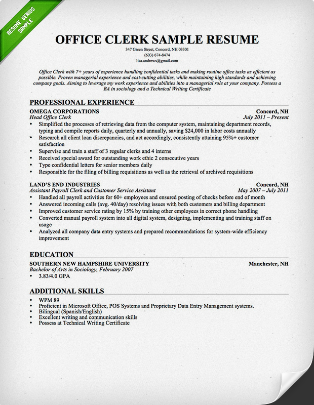 office clerk resume professional sample clerical duties resume
