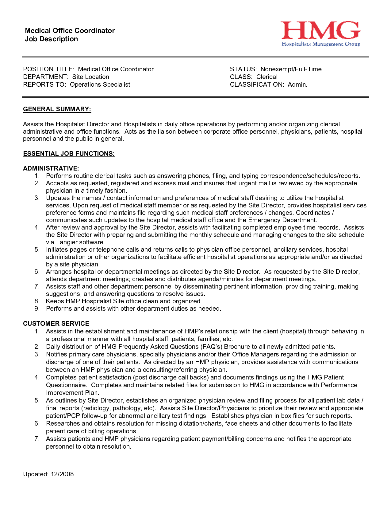 office coordinator description project coordinator