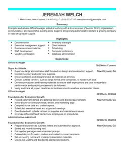 office manager resume template resume samples office manager