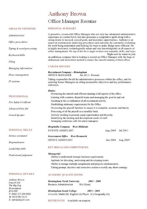 Office Manager Resume Cover Letter Office Manager Resume Job