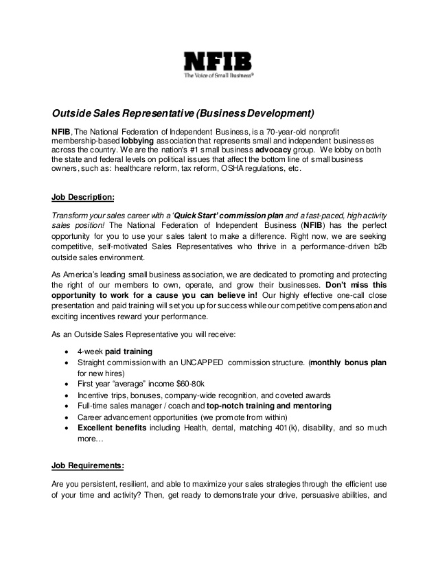 Sales Representative Job Description Sample - Samplebusinessresume