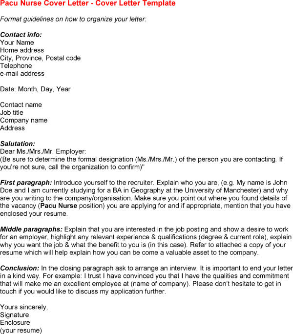 7 Pacu Nurse Resume Cover Letter Example for Employment – Nurse Cover Letter Template