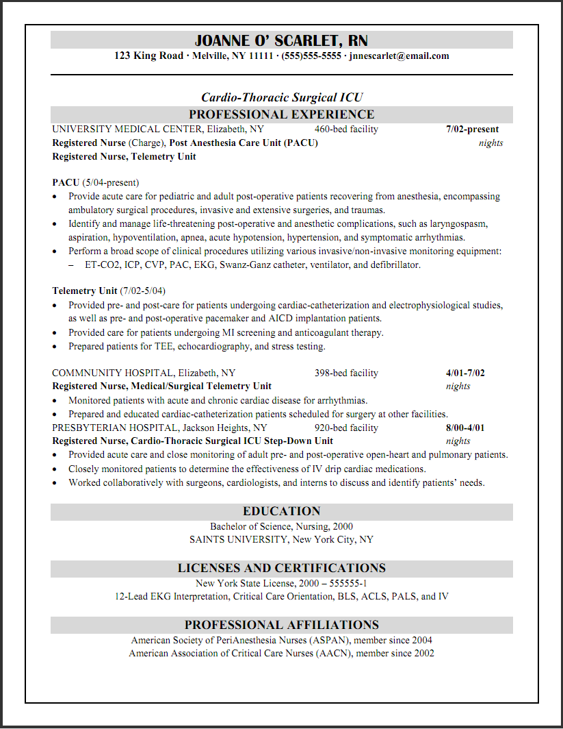 Pacu Nurse Resume Example Cicu Registered Nurse Resume