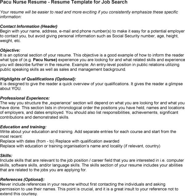 pacu nurse resume pacu nurse resume SampleBusinessResumecom