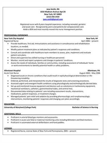 ... Pacu Nurse Resume Template Professional Resume Outline Jane Smith ...