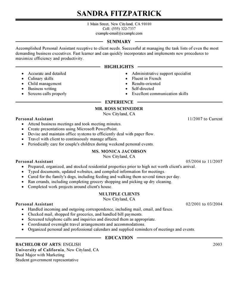 Executive assistant job description resume sample for Sample resume for personal care worker
