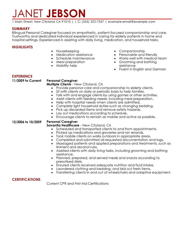 Template of personal care assistant resume for Sample resume for personal care worker