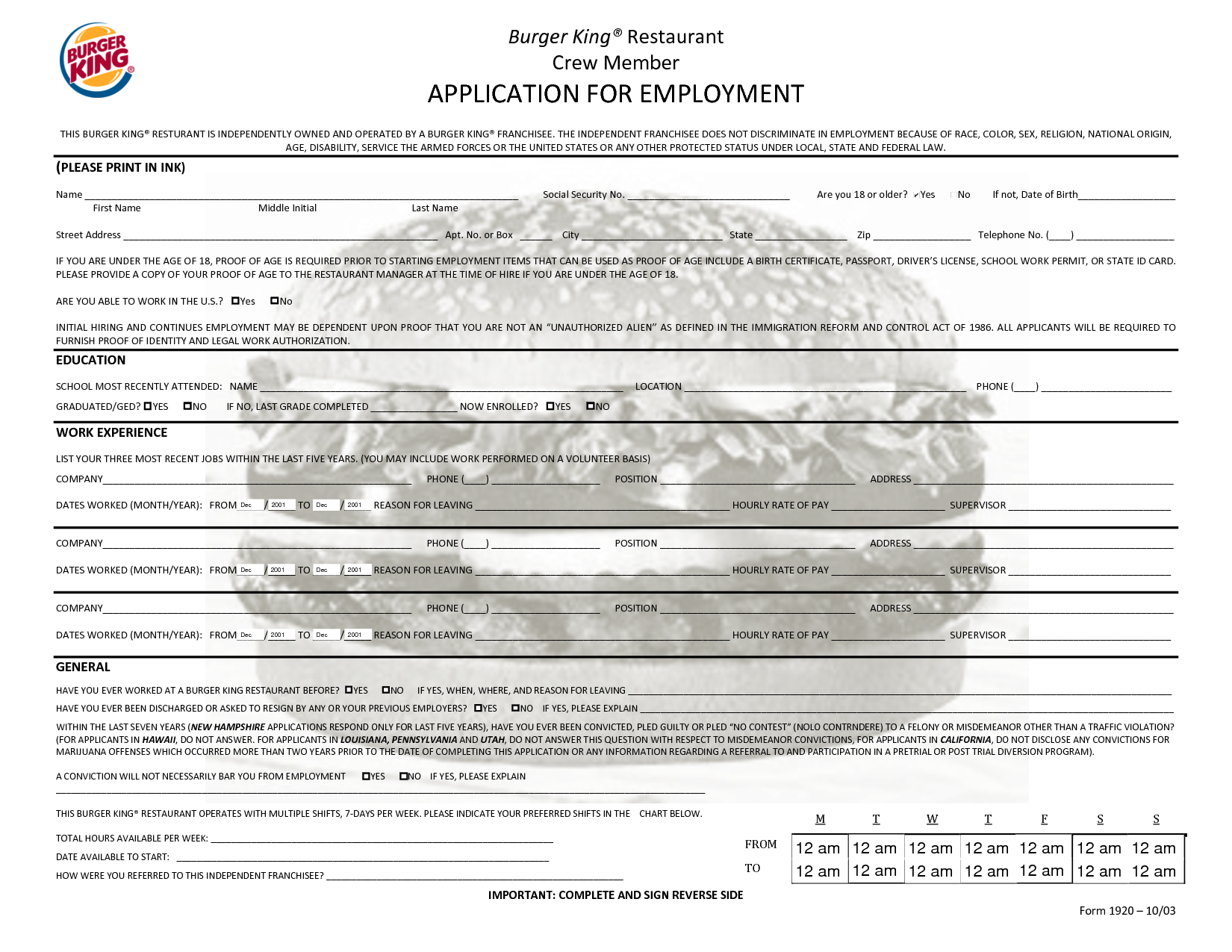 Printable Job Applications Pdf Burger King
