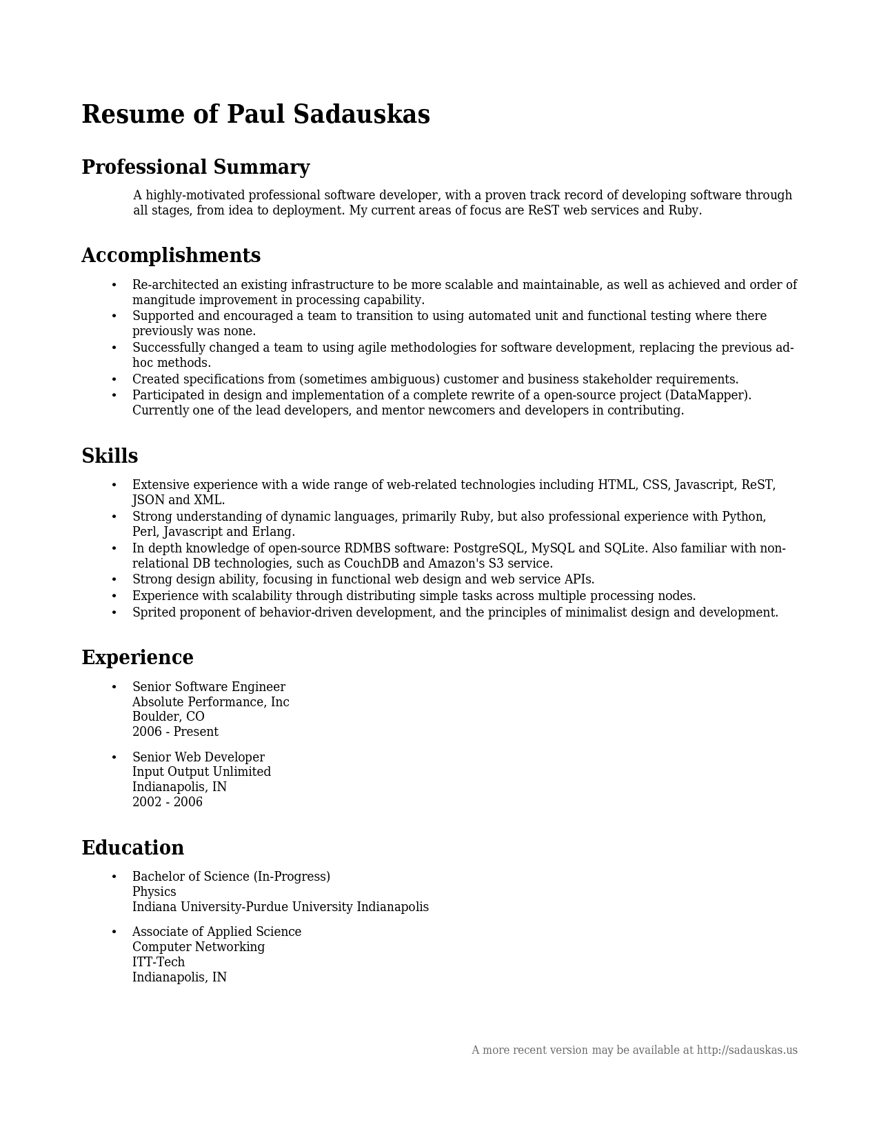Nice Professional Summary Examples Example Of Professional Summary On Resume  Paul Sadauskas Intended For Examples Of Professional Summary For Resume