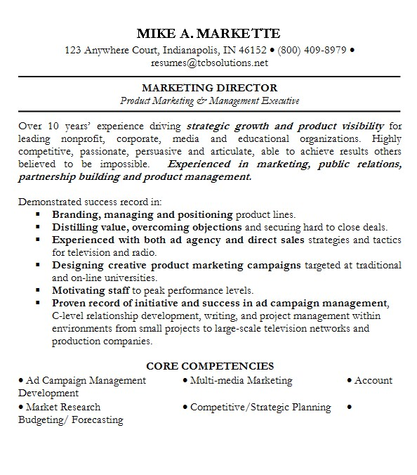 professional summary for sales resume summary for sales professional Mike A. Markette