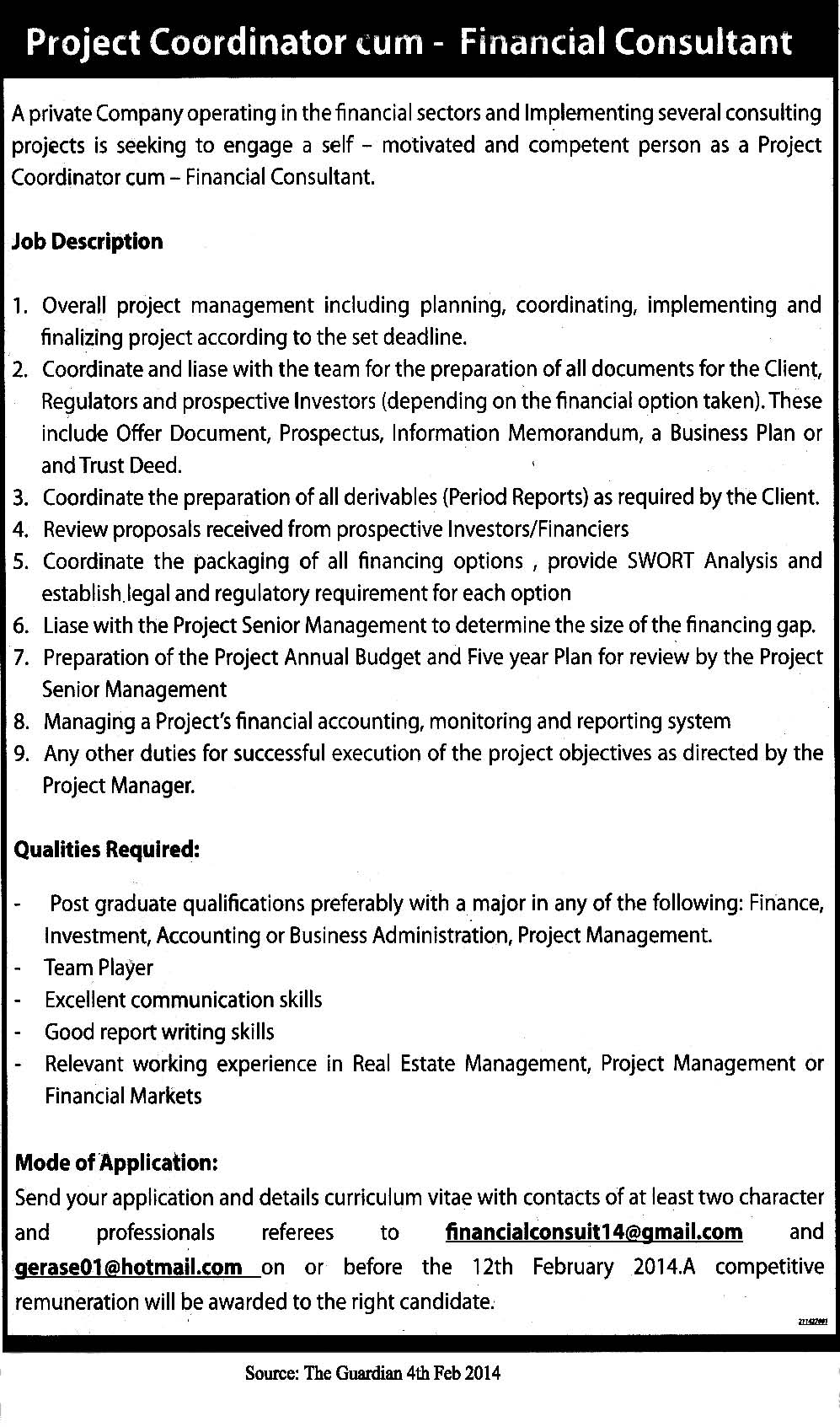 project coordinator cum financial consultant project coordinator job description healthcare
