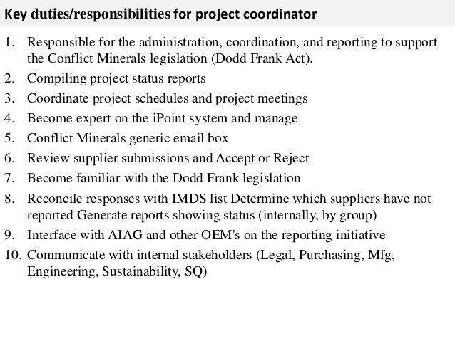 Project Coordinator Job Description Key DutiesResponsibilities For