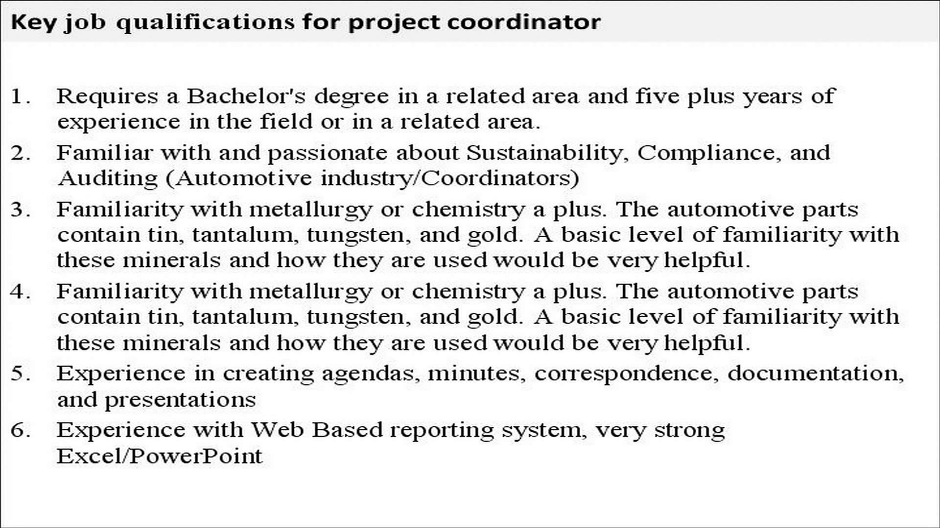 project coordinator description project coordinator