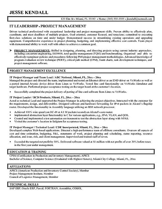 14 Project Manager Resume Samples - SampleBusinessResume.com ...