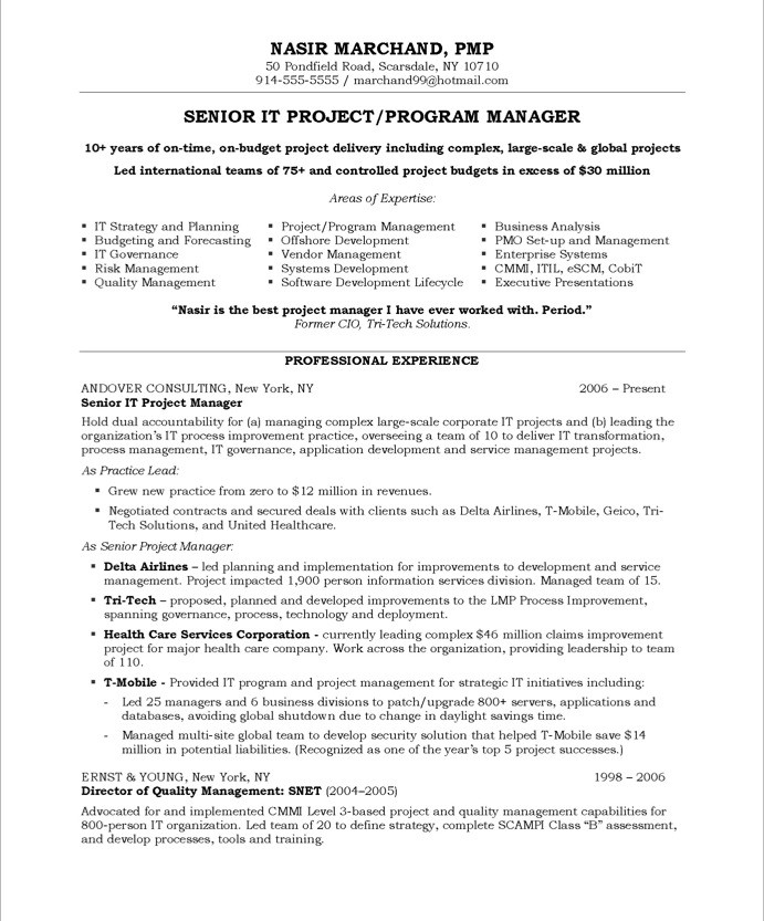 14 project manager resume sles slebusinessresume