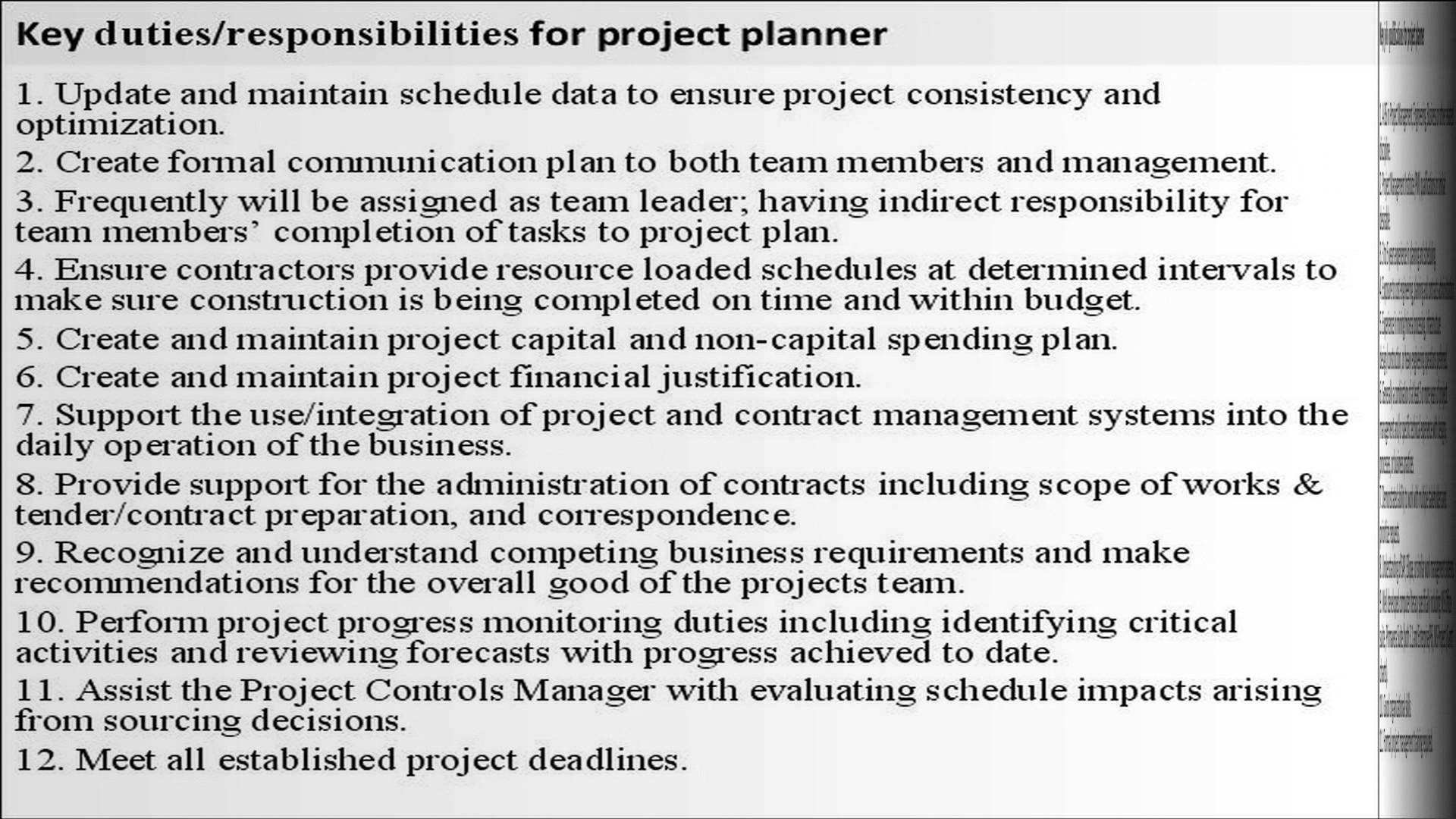 project planner job description project coordinator job description resume - Project Coordinator Resume