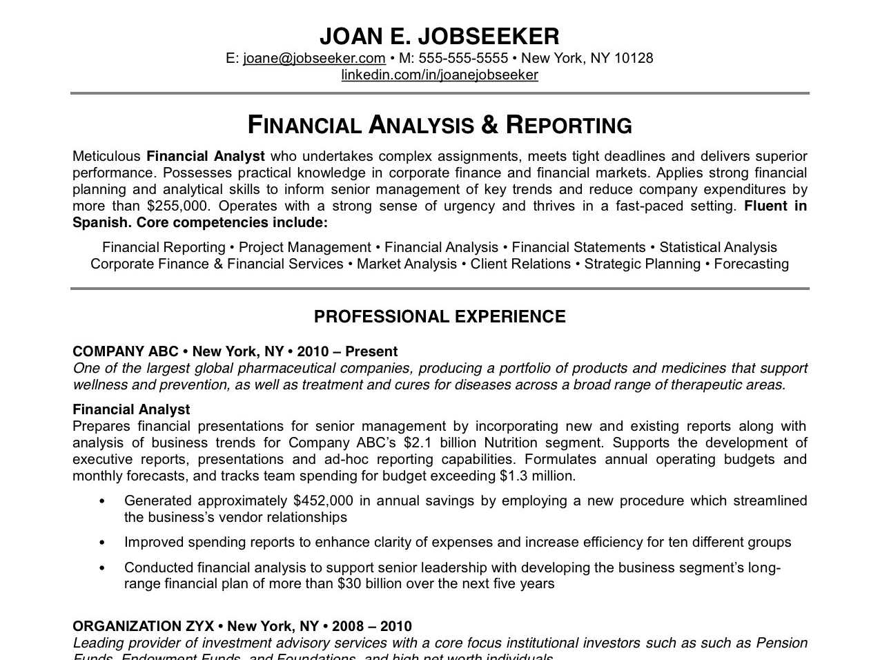 reasons why this is an excellent resume best resume format by joan e jobseeker - Best Sample Resumes