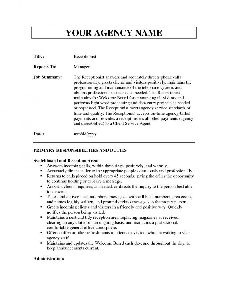 10 example resume receptionist job description for Example of a job description template
