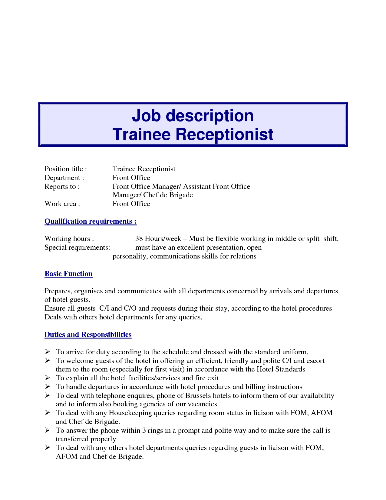 receptionist job description resume Receptionist Job Description Duties