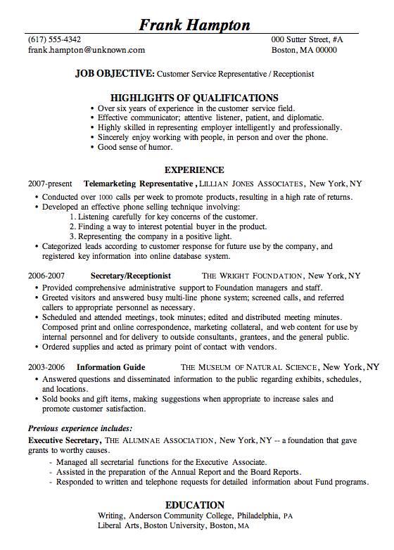 receptionist resume objective resume sample customer service receptionist frank hampton - Job Objective For Resume