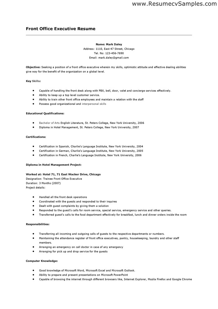 front desk resume samples - Sample Resume Format For Hotel Receptionist