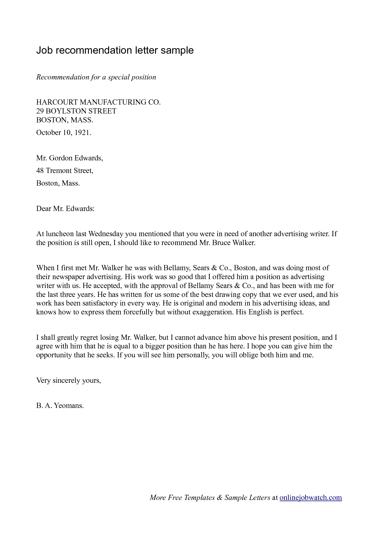 recommendation letter sample recommendation letter sample doc – Reference Letter for Job Sample