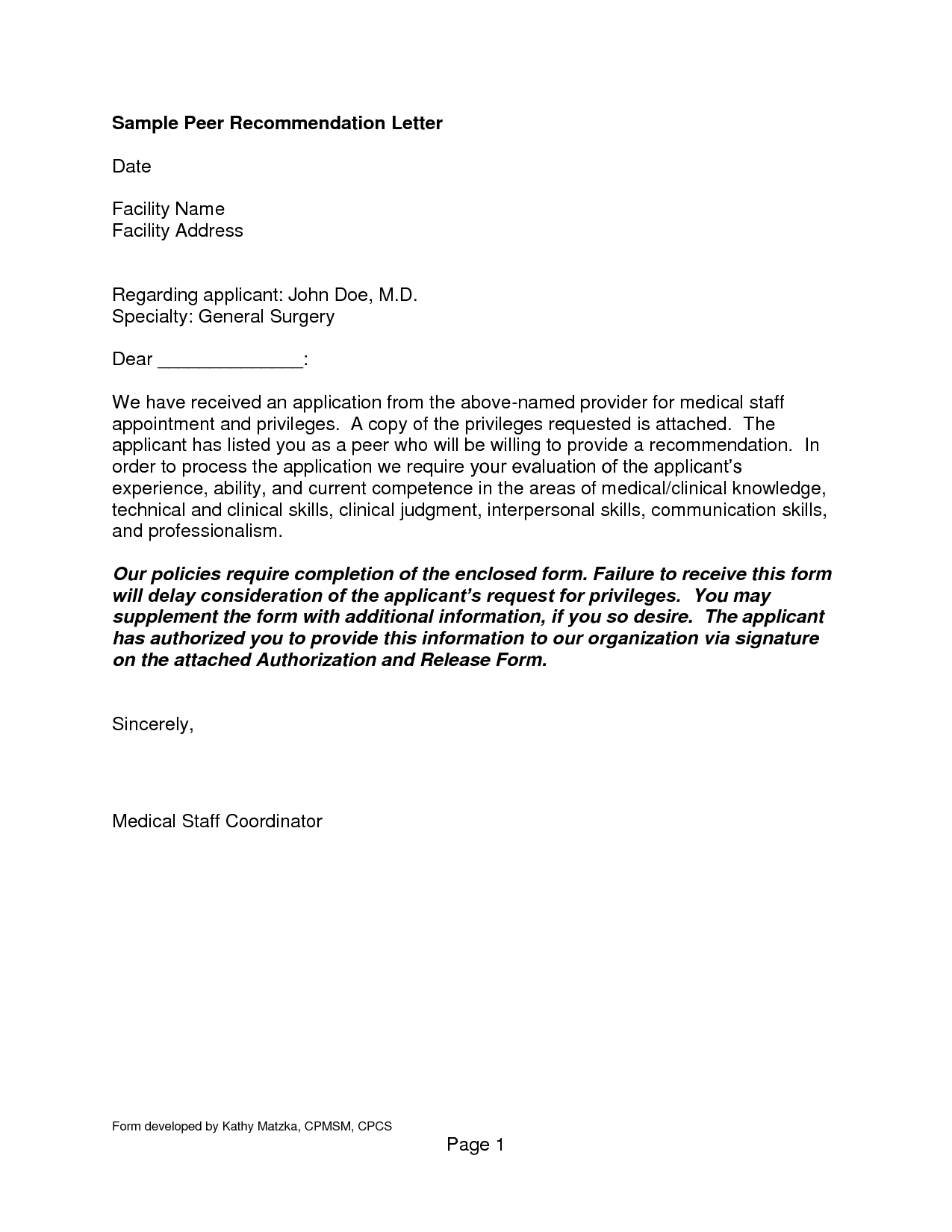 letter of recommendation form letter