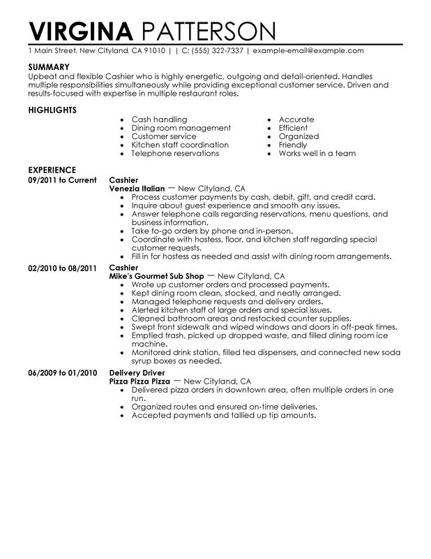 restaurant cashier duties resume cashier food and