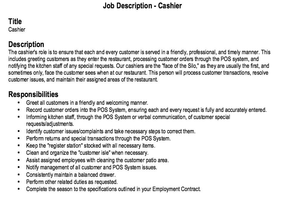 restaurant cashier job description Restaurant Cashier Job Description Resume
