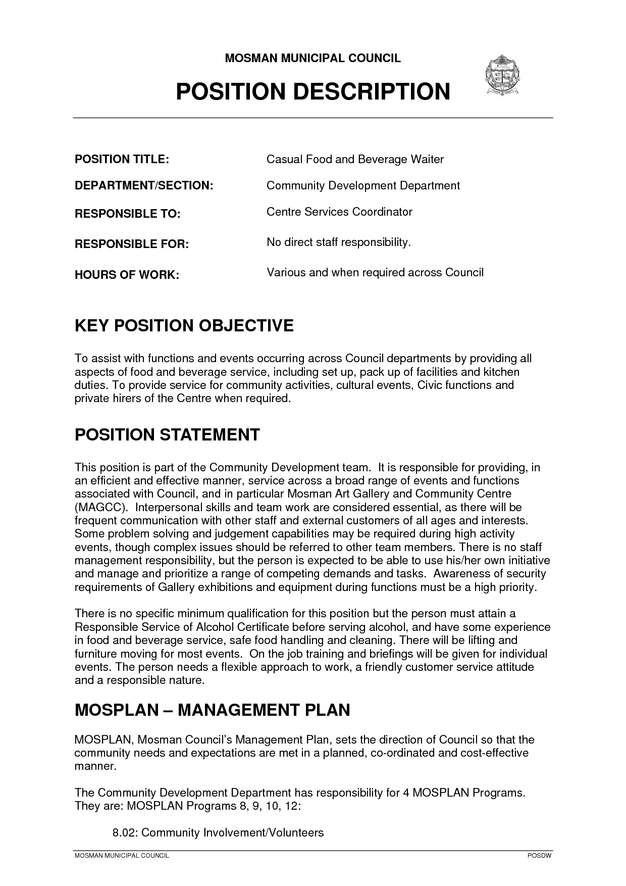 restaurant waitress job description Sample resume job description waitress