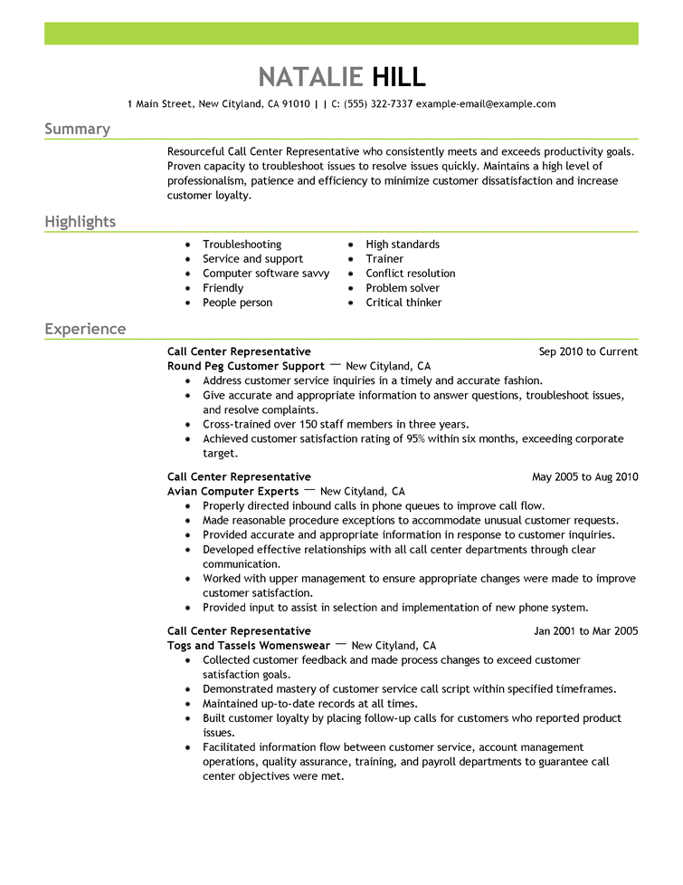 resume cover letter examples call center representative customer service resume example emphasis expanded natalie hill