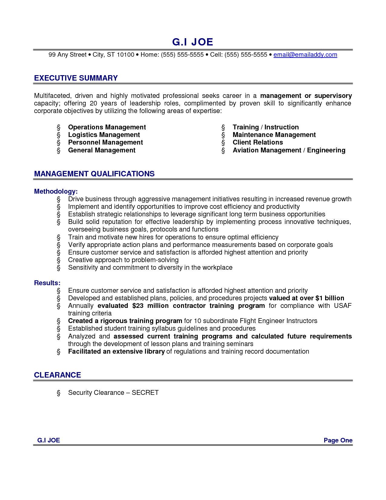 resume example executive summary with management