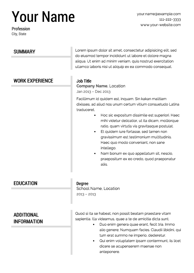 resume format Resume Templates