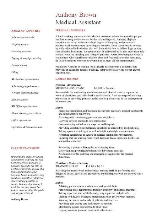 2016 medical assistant duties resume