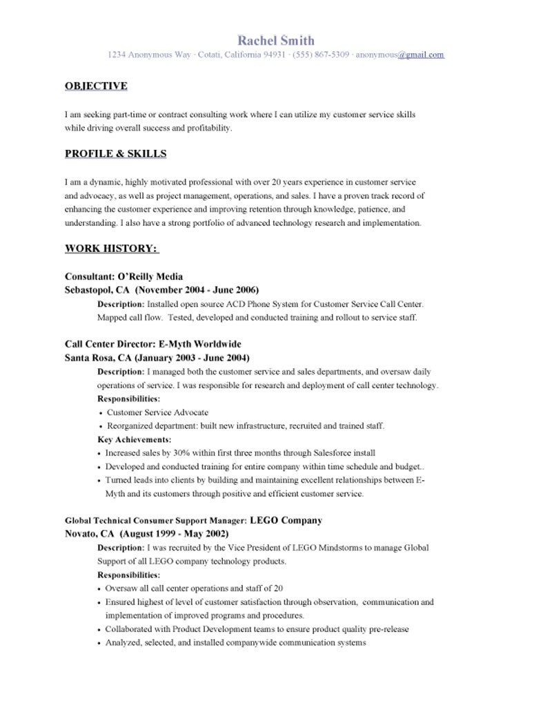 resume objective examples customer service customer service objective resume rachel smith - Professional Objective For Resume