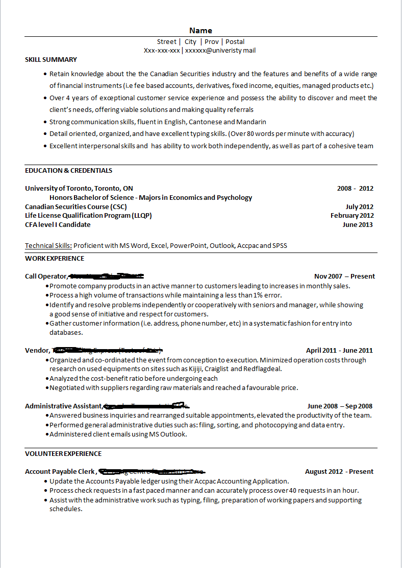 Resume For Job In Bank Evoo Tk