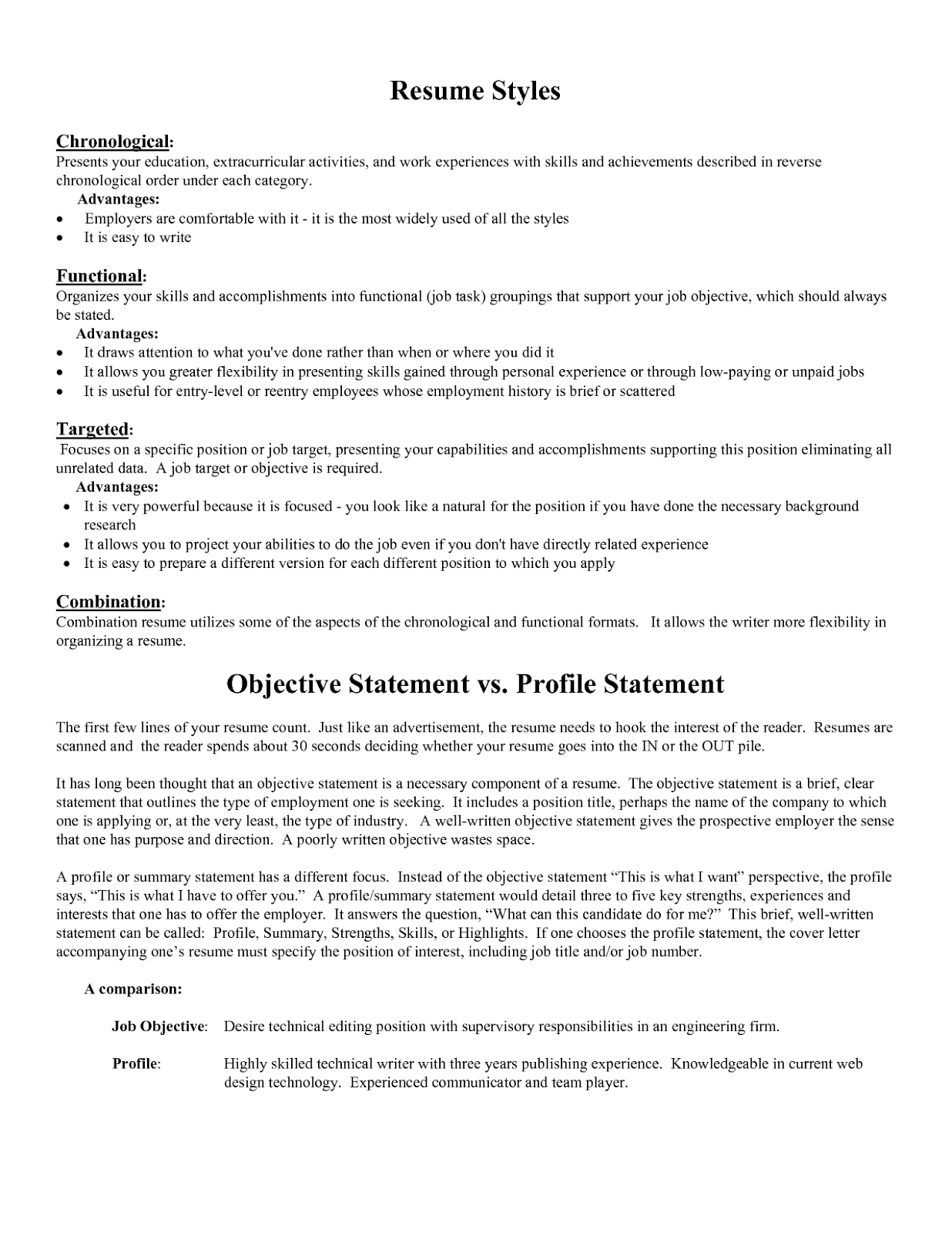 resume objective objective resume examples