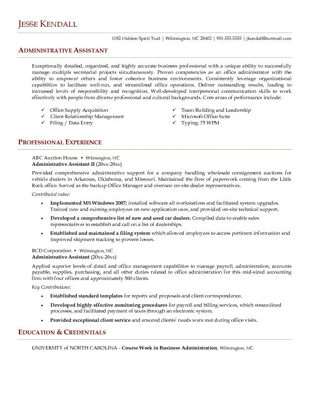 sample - Administrative Assistant Resume Sample