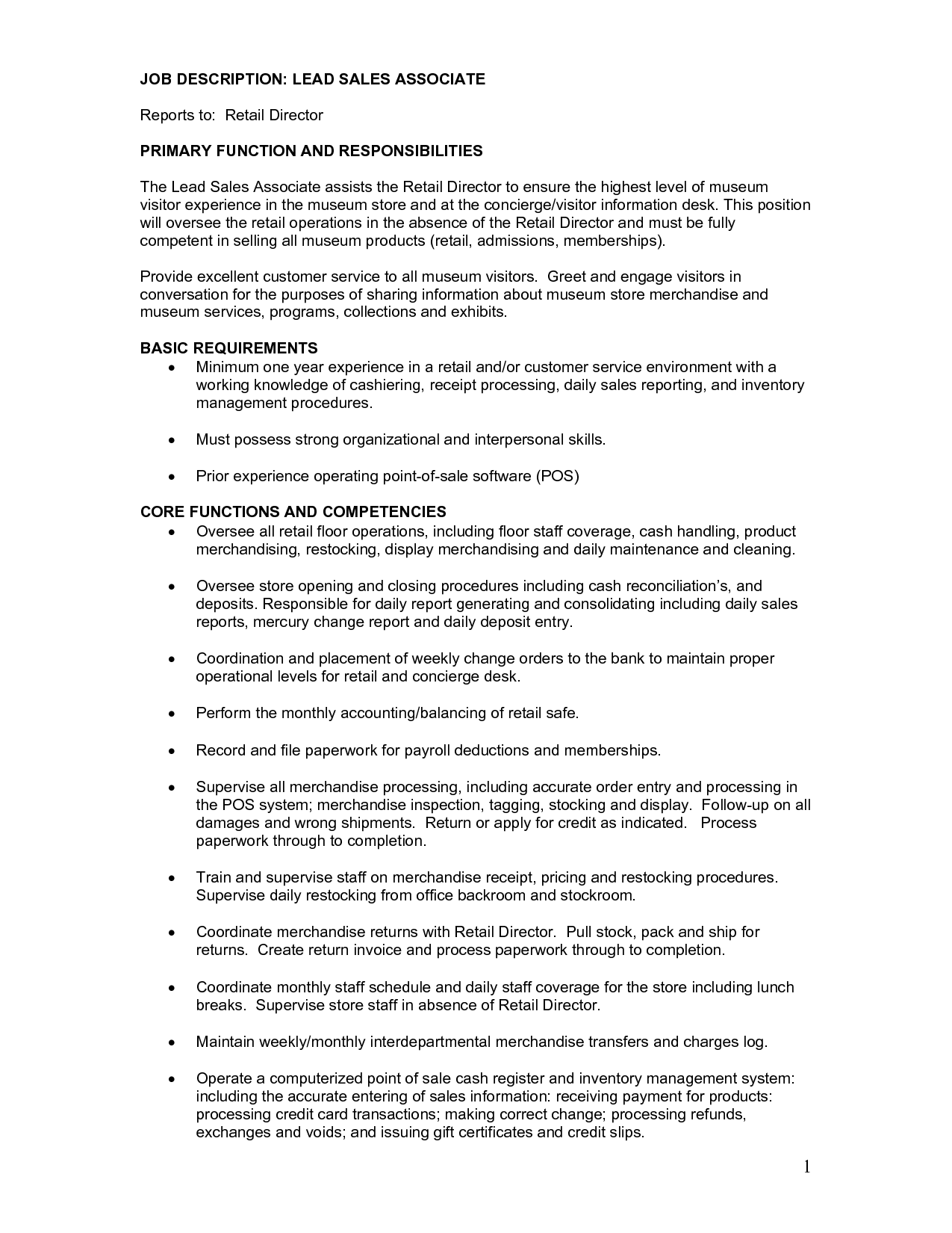 resume retail sales associate job description sales associate job description pdf