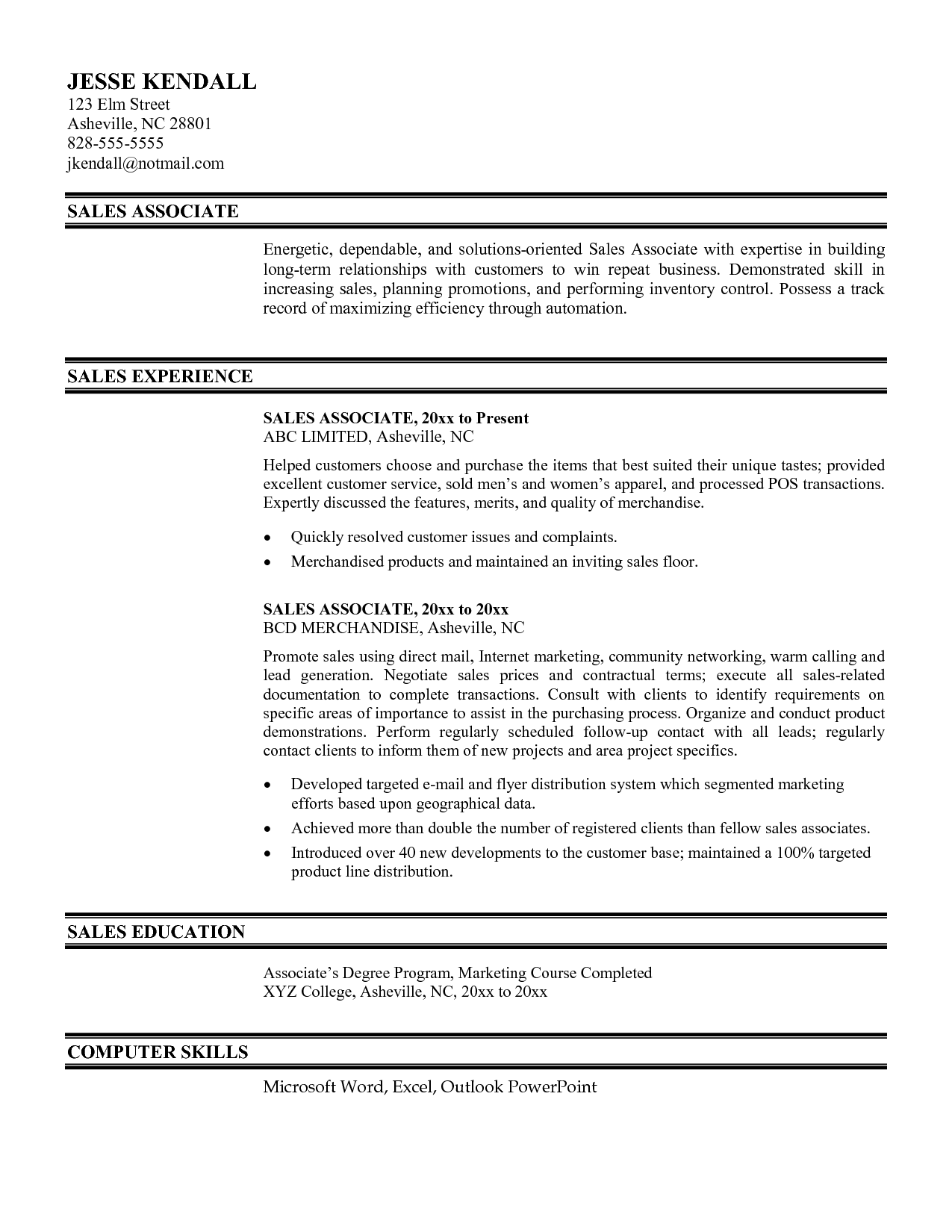 resume sle for retail sales associate retail sales