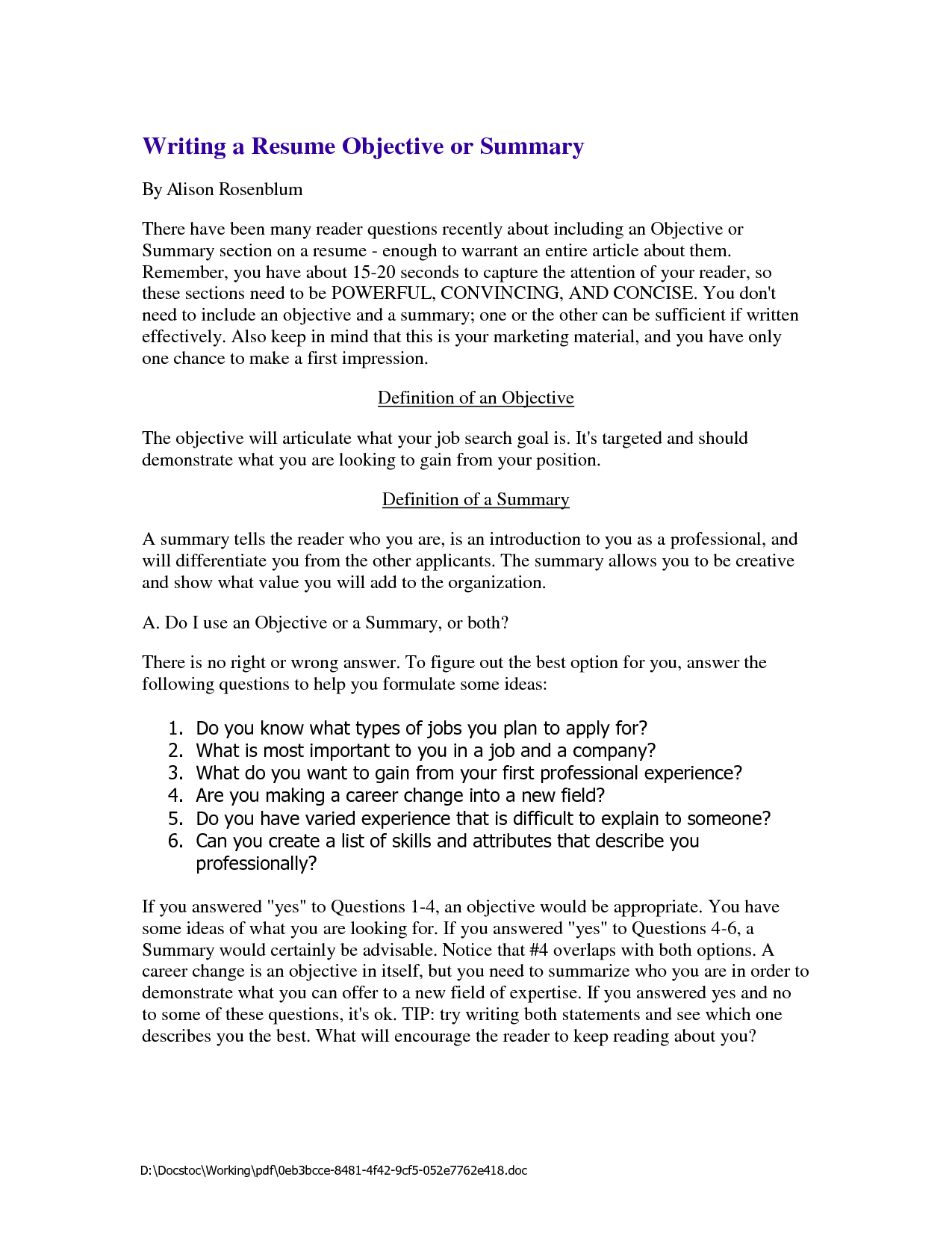 resume summary for writing a resume objective or summary summary for resume customer service by alison rosenblum
