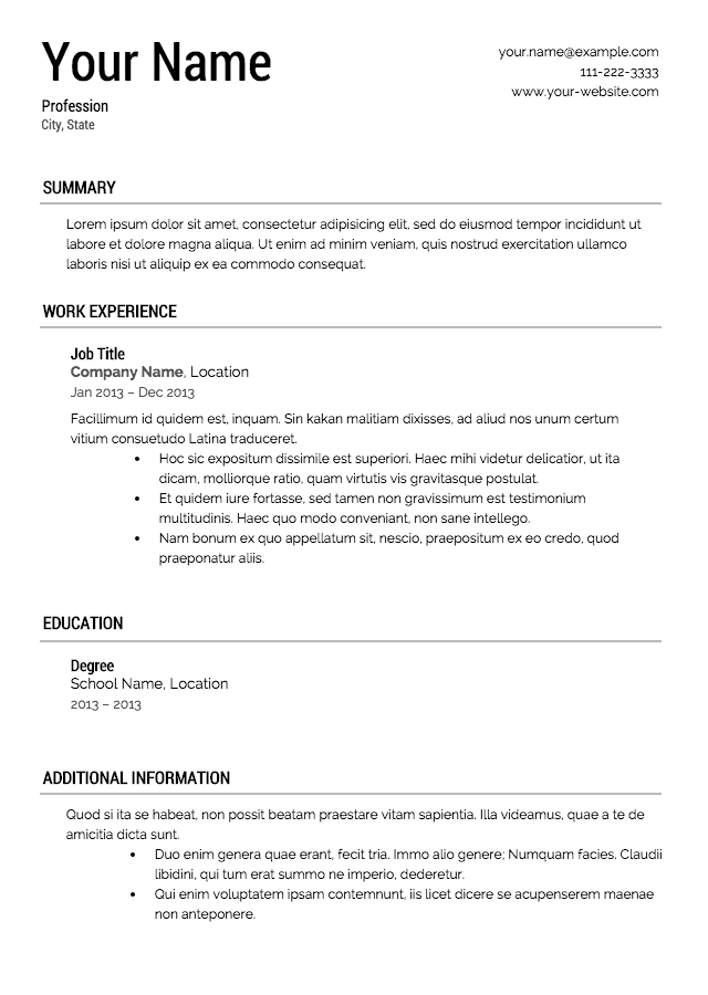 resume template resume templates - Updated Resume Templates