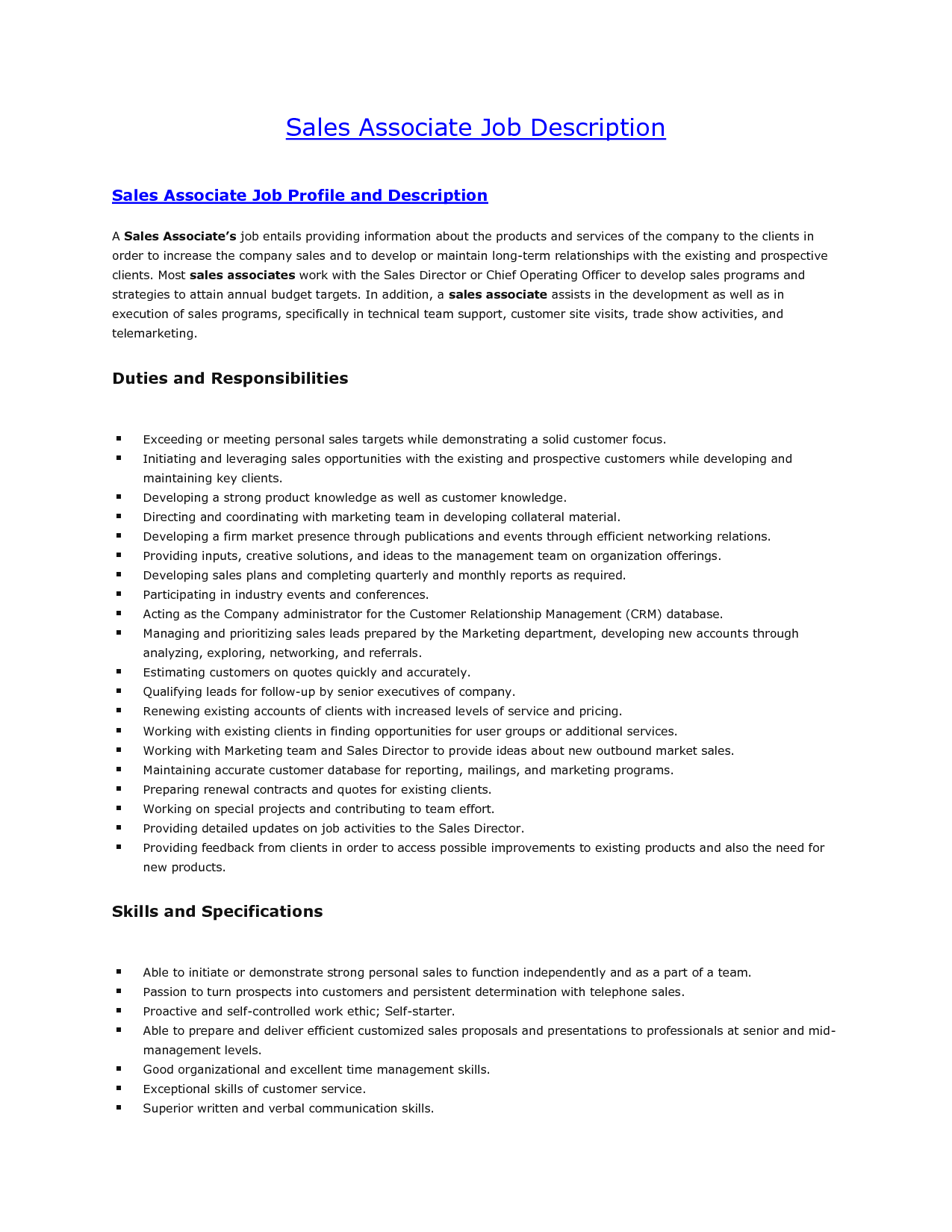sales job description for resume