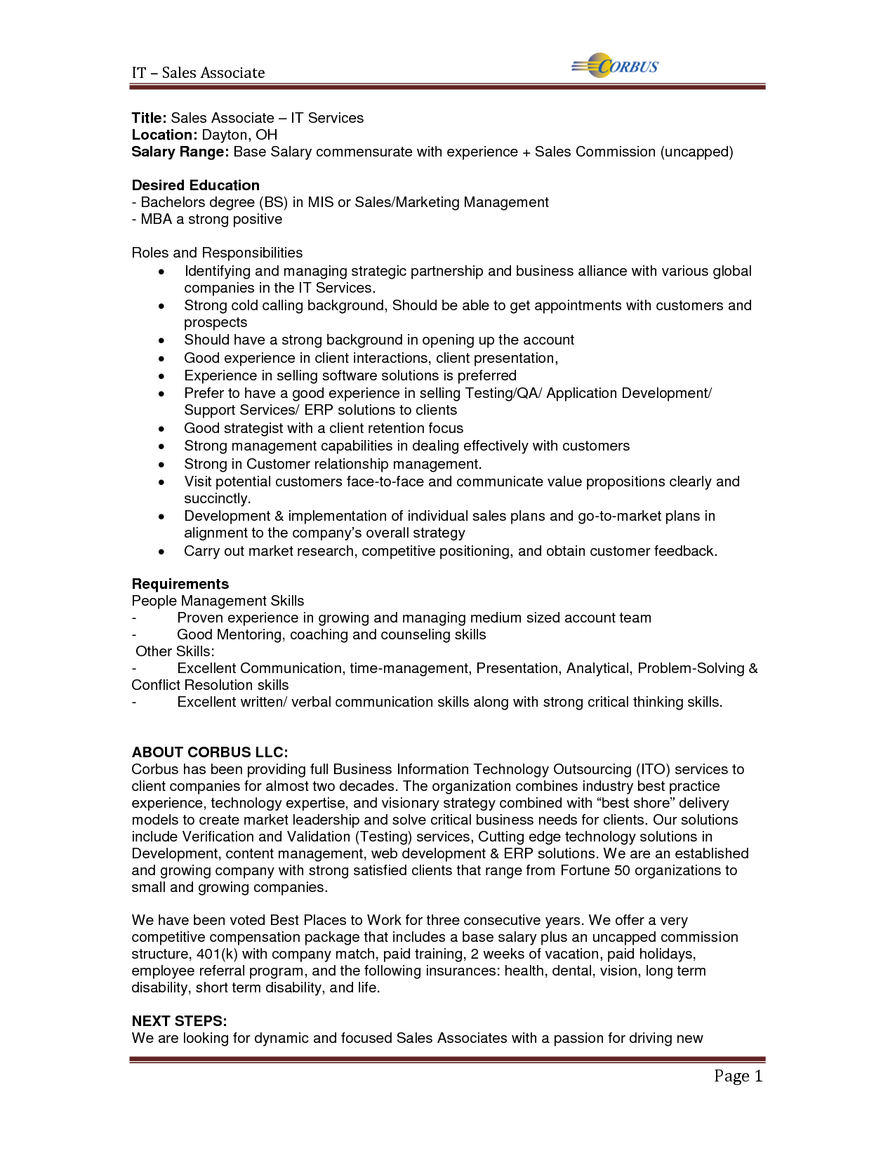 sales associate job description objective - SampleBusinessResume.com ...