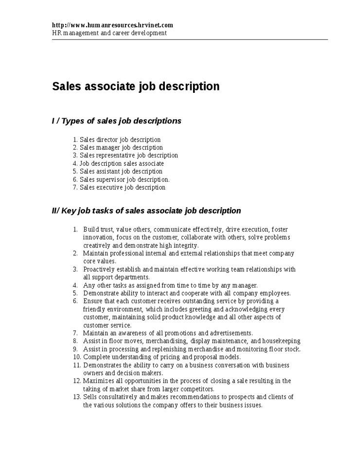 Sales Associate Duties Under Fontanacountryinn Com